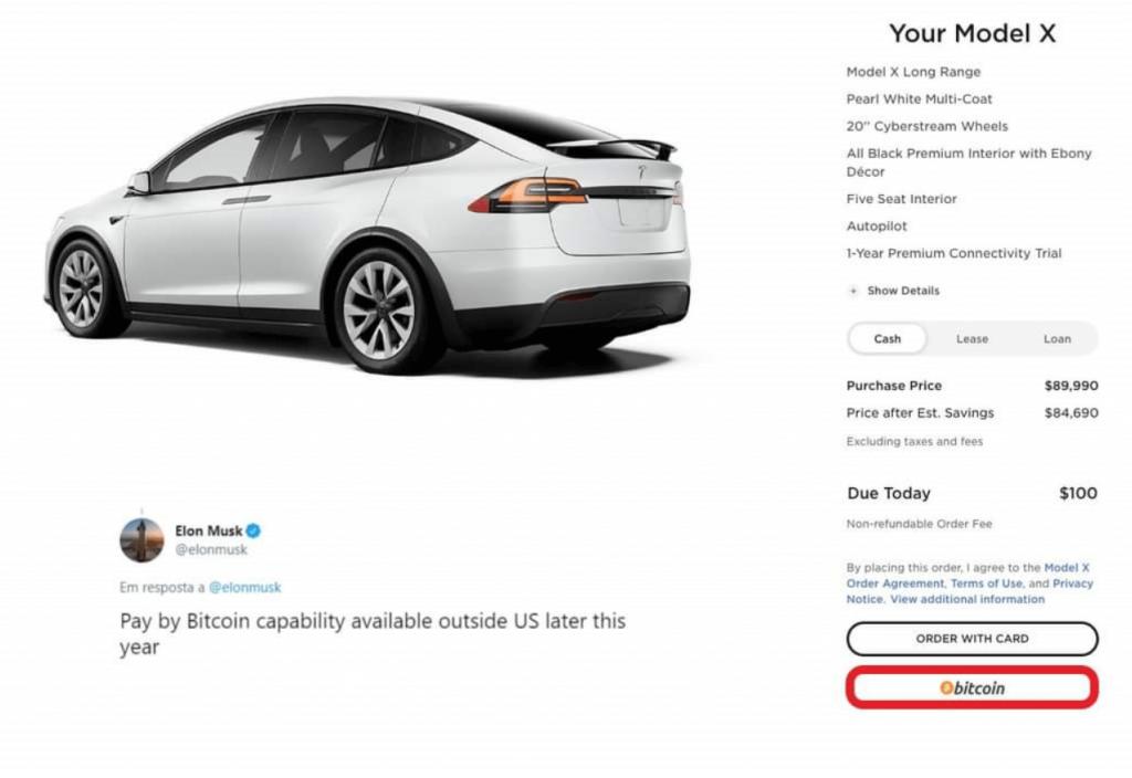 Pagar com Bitcoin no site da tesla